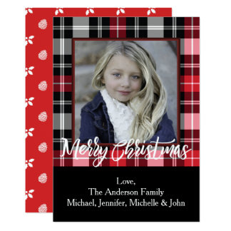 Rustic Pine Holly and Plaid Christmas Photo 13 Cm X 18 Cm Invitation Card