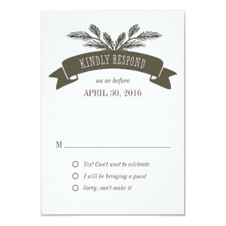 Rustic Pine Needle Response Card
