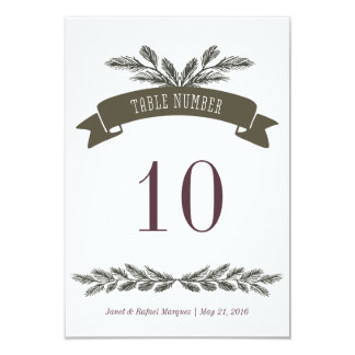 Rustic Pine Needle Table Number 9 Cm X 13 Cm Invitation Card
