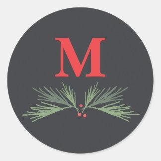 Rustic pine swag holiday monogram sticker
