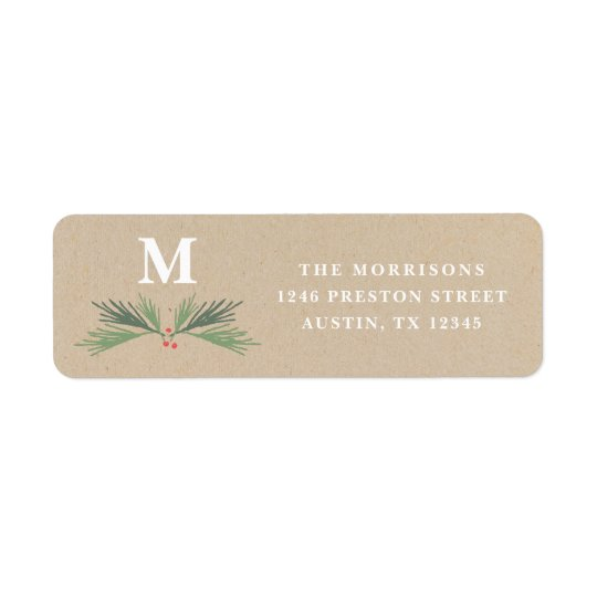 Rustic pine swag holiday return address label