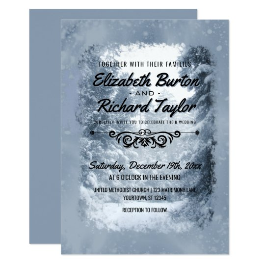 Rustic Pine Trees Blue Winter Wonderland Wedding Card