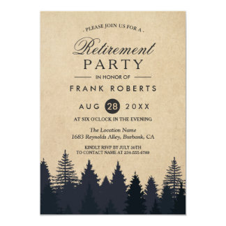 Rustic Pine Trees Forest Kraft Retirement Party 13 Cm X 18 Cm Invitation Card