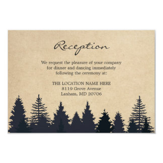 Rustic Pine Trees Kraft Wedding Details Reception 9 Cm X 13 Cm Invitation Card