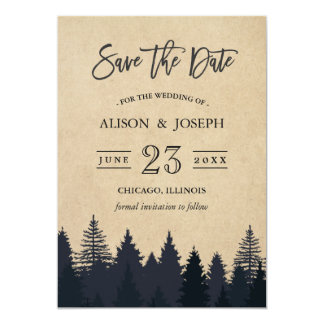 Rustic Pine Trees Kraft Wedding Save the Date 13 Cm X 18 Cm Invitation Card