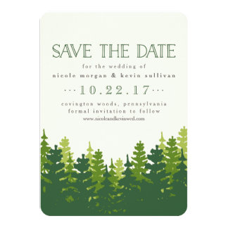 Rustic Pine Trees Save the Date 11 Cm X 16 Cm Invitation Card
