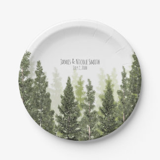 Rustic Pine Trees Simple Country Wedding 7 Inch Paper Plate
