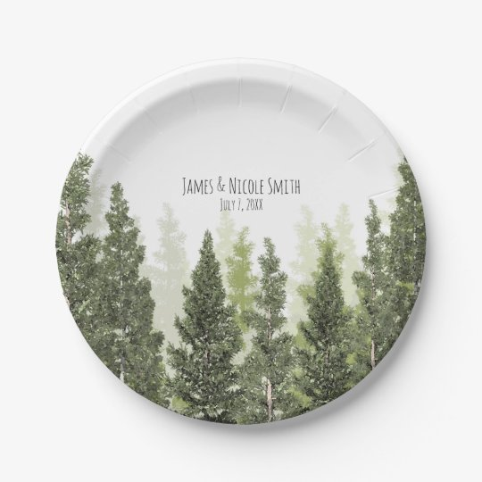 Rustic Pine Trees Simple Country Wedding 7 Inch