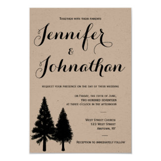 Rustic pine trees wedding invitations