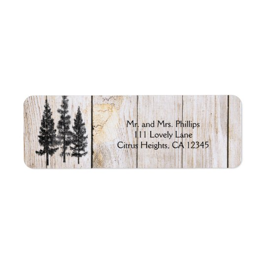 Rustic Pine Trees Wooden Simple Country Wedding Return Address Label