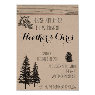 Rustic Pine Wedding Invitation