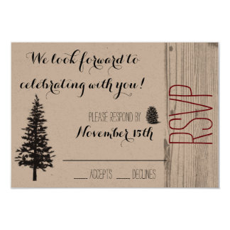 Rustic Pine Wedding RSVP 9 Cm X 13 Cm Invitation Card