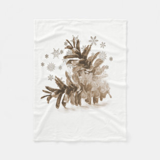 Rustic Pinecones in the Snow Fleece Blanket