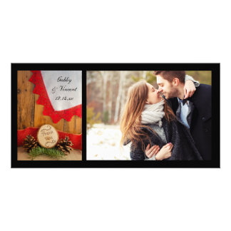 Rustic Pines and Red Lace Wedding Thank You Photo Photo Greeting Card