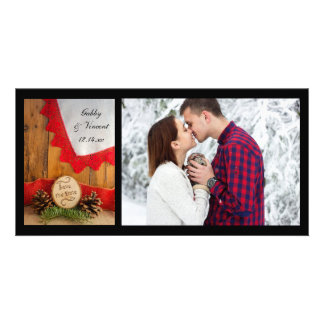 Rustic Pines Red Lace Woods Wedding Save the Date Card