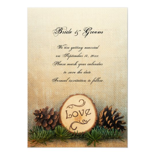 Rustic Pines Woodland Wedding Save the Date Card