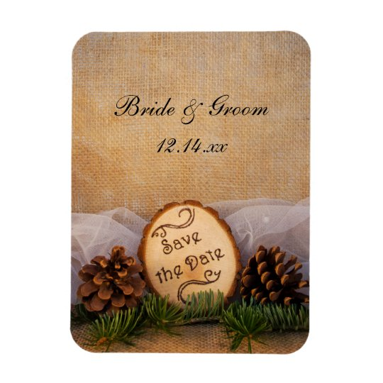 Rustic Pines Woodland Wedding Save the Date Rectangular