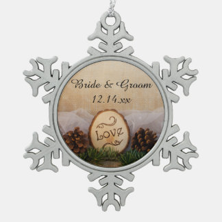 Rustic Pines Woods Wedding Snowflake Pewter Christmas Ornament