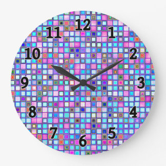 Rustic Pink And Blue Mosaic 'Clay' Tiles Pattern Large Clock