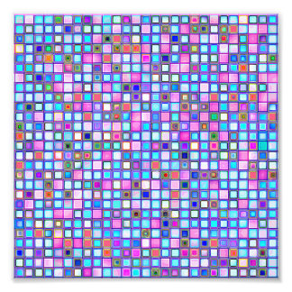Rustic Pink And Blue Mosaic 'Clay' Tiles Pattern Photograph