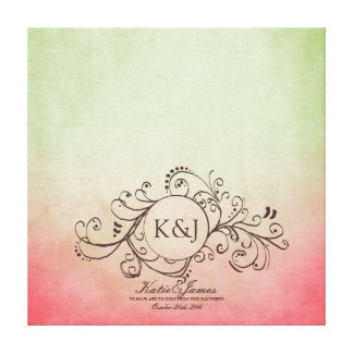 Rustic Pink and Green Bohemian Guest Book Canvas Canvas Prints