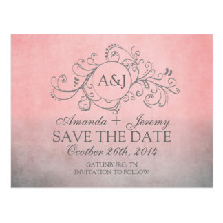 Rustic Pink and Grey Bohemian Save The Date Postcard
