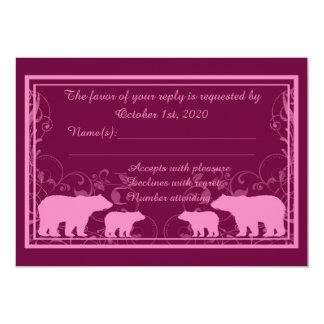 Rustic pink bear swirl custom RSVP cards 13 Cm X 18 Cm Invitation Card