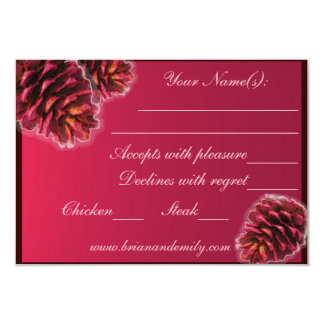 Rustic pink brown pine cone custom RSVP cards 9 Cm X 13 Cm Invitation Card