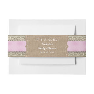Rustic Pink Burlap and Lace Invitation Belly Band