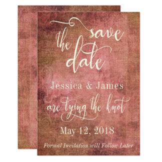 Rustic Pink & Burlap Vintage Save the Date Card