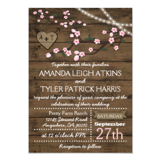 Rustic Pink Cherry Blossom Wedding Invitations