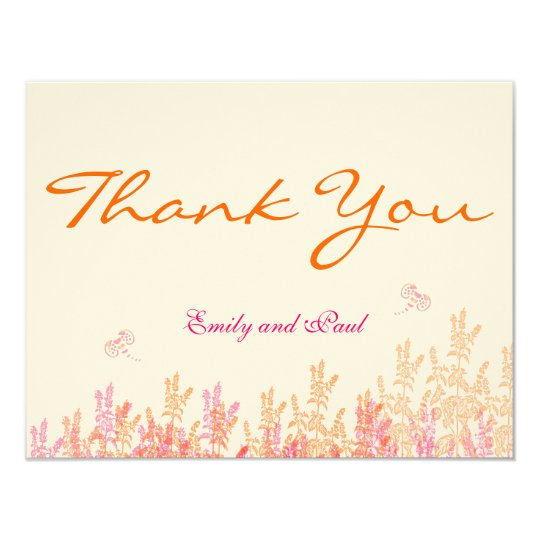 Rustic Pink Coral Wildflower Bee Wedding Thank You Card