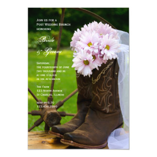 Rustic Pink Daisies Country Post Wedding Brunch Card