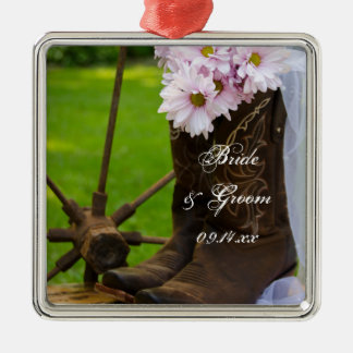 Rustic Pink Daisies Cowboy Boots Country Wedding Christmas Ornament