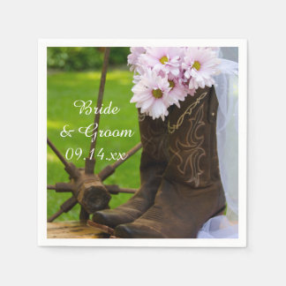 Rustic Pink Daisies Cowboy Boots Western Wedding Disposable Serviettes