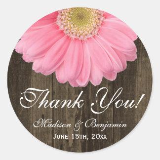 Rustic Pink Daisy Wedding Thank You Sticker