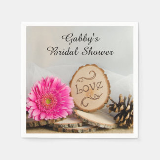 Rustic Pink Daisy Woodland Bridal Shower Disposable Serviettes