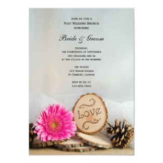 Rustic Pink Daisy Woodland Post Wedding Brunch 13 Cm X 18 Cm Invitation Card