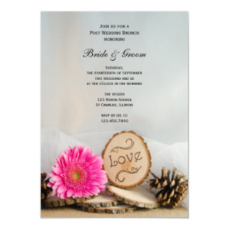 Rustic Pink Daisy Woodland Post Wedding Brunch Card