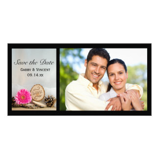 Rustic Pink Daisy Woodland Wedding Save the Date Customised Photo Card