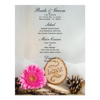 Rustic Pink Daisy Woods Wedding Menu 21.5 Cm X 28 Cm Flyer