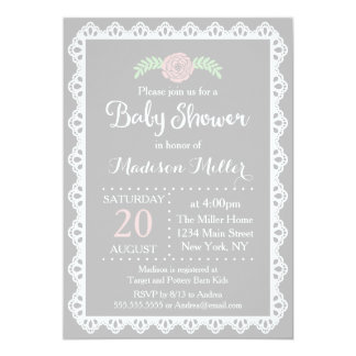Rustic Pink Floral and White Lace Baby Shower Card