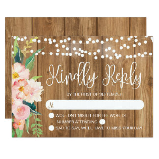 Rustic Pink Floral and Wood Wedding RSVP Card