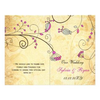 Rustic, pink floral folded , fall Wedding program Flyer