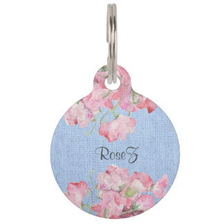 Rustic Pink Floral on Serenity Blue Burlap Pet Tags