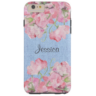 Rustic Pink Floral on Serenity Blue Burlap Tough iPhone 6 Plus Case