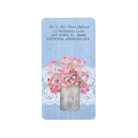 Rustic Pink Floral on Serenity Vlue Burlap Wedding Address Label