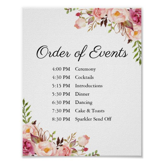 Order Of Events Wedding.Rustic Pink Floral Wedding Order Of Events Sign