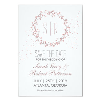 Rustic Pink Floral Wreath Wedding Save The Date 9 Cm X 13 Cm Invitation Card