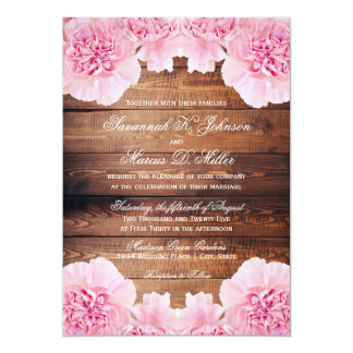 Rustic Pink Flowers Barn Wood Wedding Invites